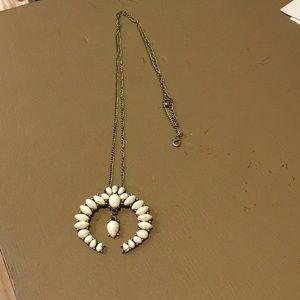 Boho necklace - white with grey swirls - New